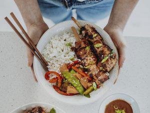 Rainbow Stir fry with Satay Tofu Skewers